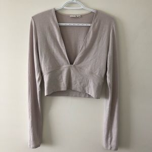 Aritzia Wilfred Free V Neck Long Sleeve Shirt